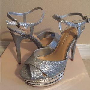 Gianni Bini Glitter Silver Platform Sandal